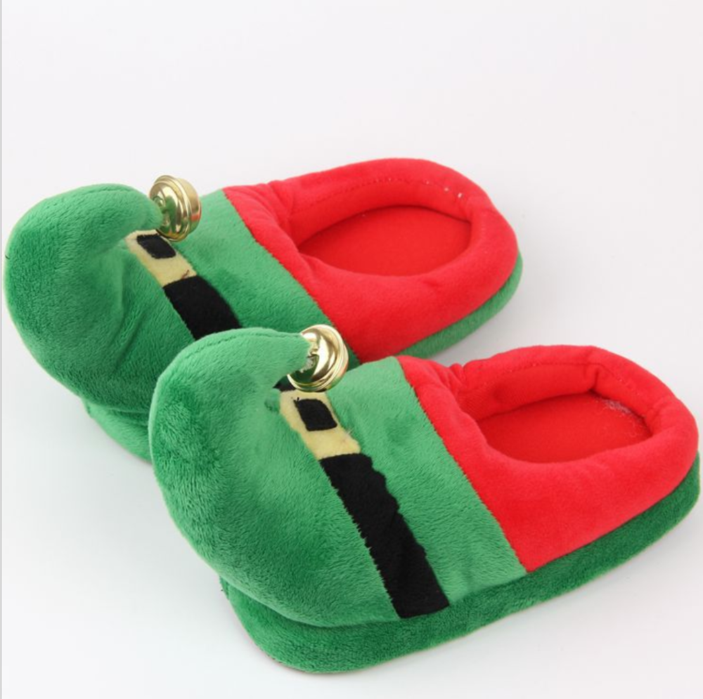 Christmas Parent-child Cotton Slippers Flip-flops Autumn Couple Flat-bottomed Indoor Slip Slippers Slide Shoes Cute Slippers