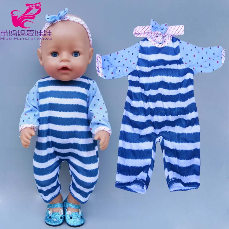 17 Inch Baby New Born Doll Boy Stripe Rompers 40cm Doll Clothes Children Girl Toys Clothes Birthday Gift