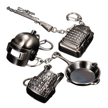 Stimulate Battlefield Key Chains PUBG Eat Chicken Creative Chain Pendant 5-piece Set Of 98K Pan 3-Head Ring