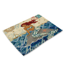 цена на Mermaid Placemat Eco Friendly Sea Animal Print Linen Table Mat Pads Dining Napkins Heat Insulation Placemat 42x32cm
