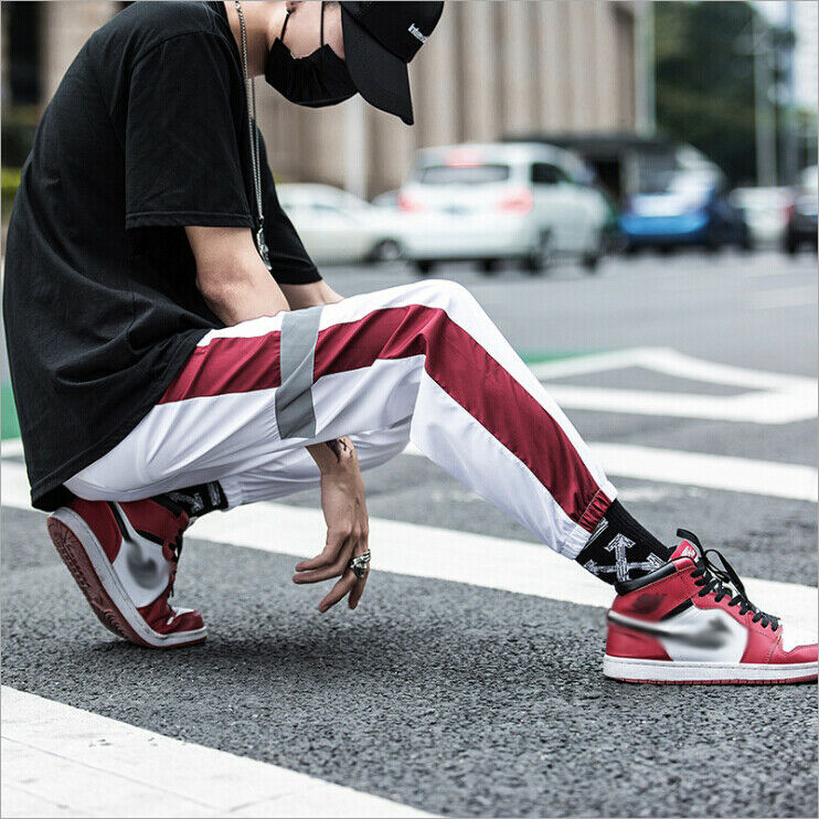 THEFOUND Hip Hop Reflective Pants Casual Black Cargo Pants Men Elastic High Waist Pants Streetwear Sweatpants Jogger
