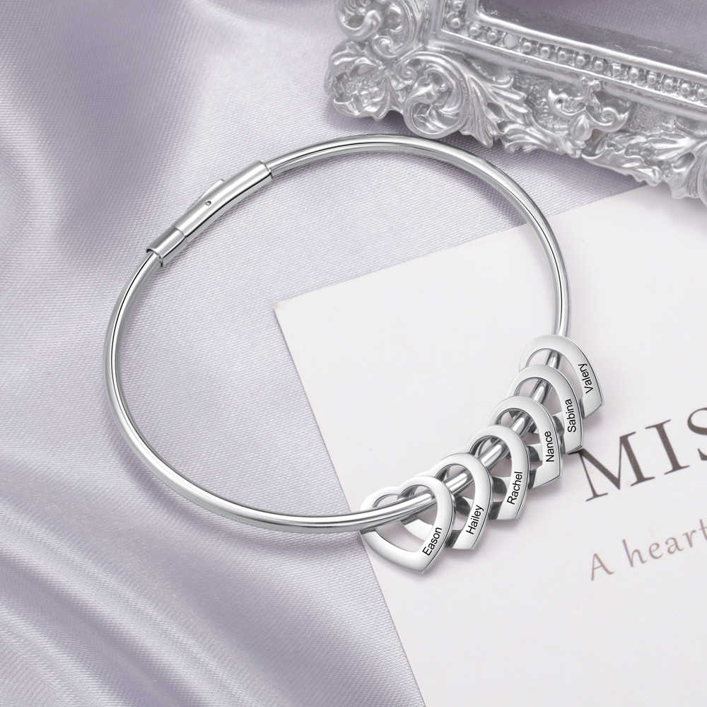 Женский браслет из нержавеющей стали, индивидуальный браслет на запястье с 2-6 подвесками в виде сердца, подарок для семьи (Lam Hub Fong)