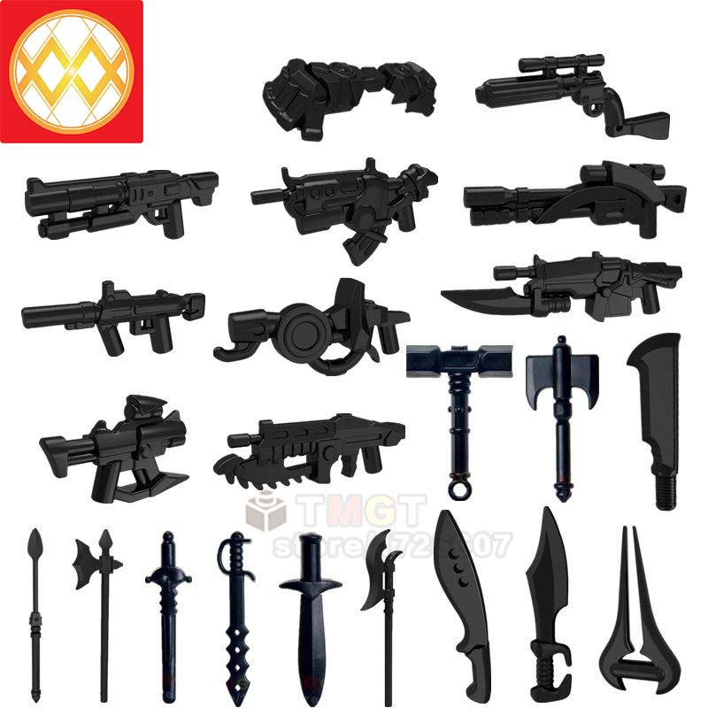 10pcs Military Weapon Accessories Pack For Building Blocks Bricks Figures Toys