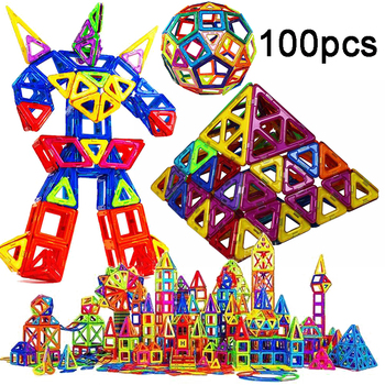 Designer Magnetic Building Blocks Toys Standard Size 100 Pcs DIY magnet Constuction Square Building Blocks For Boy Birthday Gift цена 2017