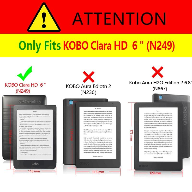 Тонкий Магнитный чехол для пробуждения/сна для нового Kobo Clara HD 6 дюймов, электронная книга, умный чехол, электронная книга, кожаный чехол-1