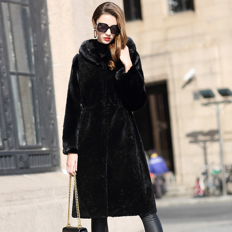 Double Faced Coat Women Winter Warm Wool Fur Coats Top Qulity Thickening Hooded Chaqueta Invierno Mujer JNX172 MF354