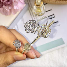 Romantic Jewelry Titanium Steel Cuff Bracelet Rose Flower Design 6 Cubic Zirconia Crystal Women Bangle Best Gift for Christmas chic father christmas cuff bracelet jewelry for women