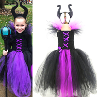Maleficent Evil Queen Girls Tutu Dress Halloween Costume for Girls Kids Party Dress Children Clothing