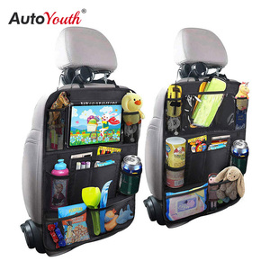 Car Backseat Organizer with Touch Screen Tablet Holder + 9 Storage Pockets Kick Mats Car Seat Back Protectors Great Travel 2 PCS