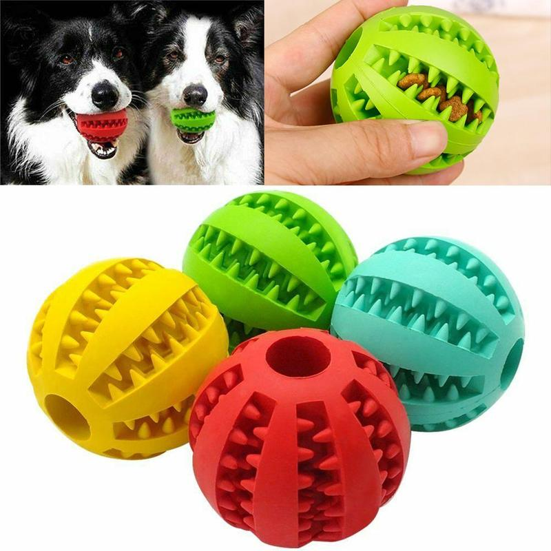 Interactive Treat Dispensing Toy Features: 1. Non-toxic and non-odor material that disassembles for cleaning needs; ensuring your dog can play and chew it safely. 2. Big stretch: If the ball falls on the floor, it will bounce high and is suitable for playing in the yard, house, park or shore. 3. Multi-function: It can be either a play toy or a tooth cleaning toy. Helps remove plaque and calculus and reduce bacterial growth. Interactive Treat Dispensing Toy Description: 1. This is a pet dog chew ball; safe material; clean teeth; protect gums. 2. Soft texture designed to be safe for your dog's gums. Interactive Treat Dispensing Toy Specifications: Color: red;sky blue;green;red;sky blue;green Material: Rubber Package included: 1 x dog chew ball