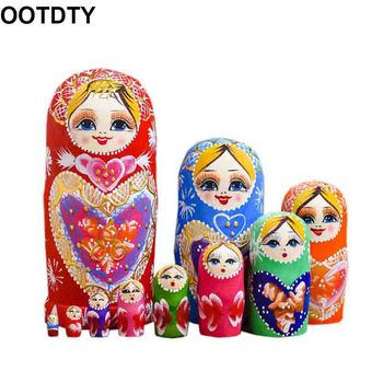 10 Layers / Set Matryoshka Wooden Russian Nesting Doll Desktop DecorChildren Christmas Gifts 5pcs set russian nesting dolls wooden matryoshka doll handmade painted