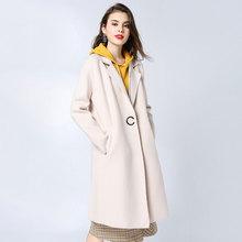 Buy Women's Wool Coat Long Windbreaker Woolen Winter Custom Maternity Wear Hoodie Thick for Pregnant Woman Lapel Woolen Coat directly from merchant!