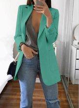 Veste de costume de travail en plein air pour femmes, manteau mi-long, Slim à revers, ouvert devant, manteau cape, Blusas Chaque