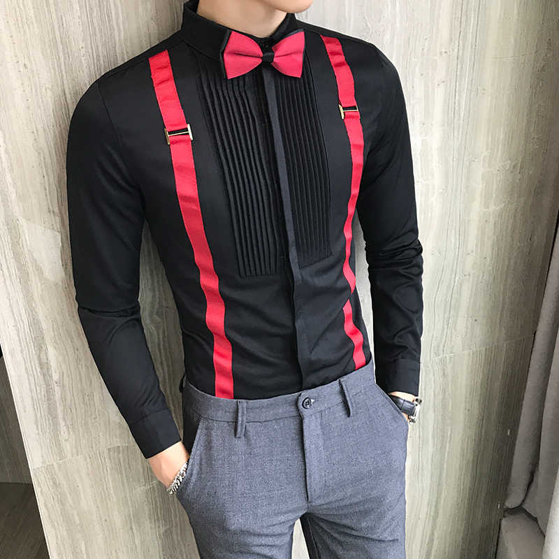 2019 Autumn Winter Shirts Men Brand Slim Fit Casual Print Dress Shirts Mens Tuxedo Long Sleeve Night Club Prom Men Clothes S-5XL