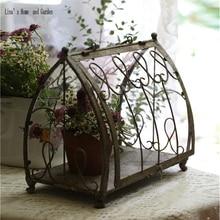 Маленький нежный красивый декоративный деревенский ручной работы антикварный сад металлический теплица