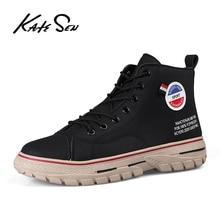 KATESEN Men Boots Fashion canvas Workwear Boots Comfortable Outdoor Non slip Casual boots Men Martin Boots Soft canvas boots
