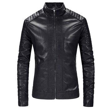 Jaqueta de couro dos homens primavera outono casual lavado motocicleta plutônio jaqueta de couro casaco masculino roupas outerwear