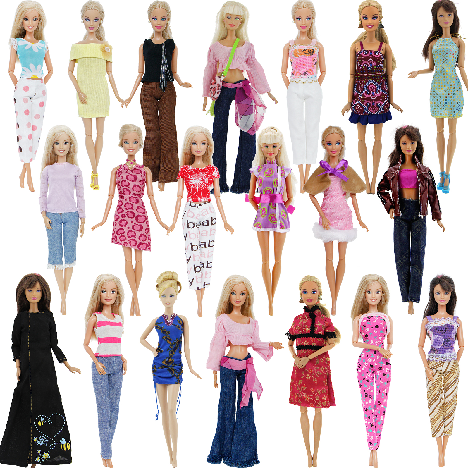 Wholesale 5/2 Set Mix Lady Girl Outfit Dress Skirt Vest Shirt Top Pants Blouse Trousers Clothes For Barbie Doll Accessories