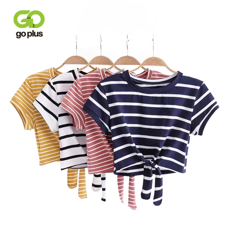 GOPLUS Women Tied Cropped T Shirts Striped Tied O-neck Crop Top Fashion Casual Short T Shirt Women Summer Casual Knot Front Tee