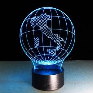 Италия глобус Карта Свет 3D Визуальный светодиодный светильник USB спальня небольшая настольная лампа 7 цветов Изменение светодиодный ночной...