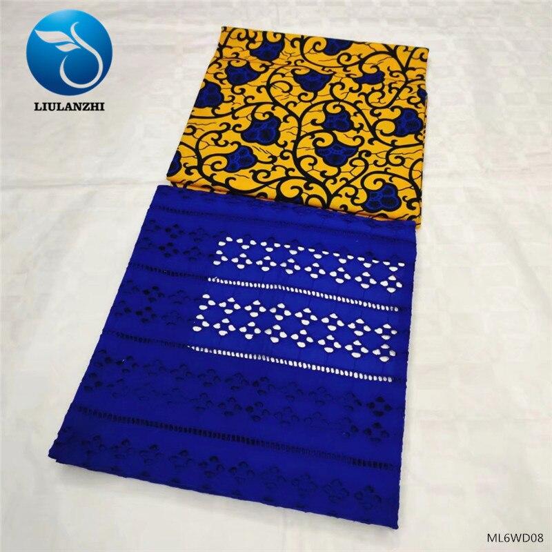 LIULANZHI dernière Ankara cire imprime tissu de cire africaine 3 yards, Voile dentelle coton tissu 2yards pour la fête ML6WD