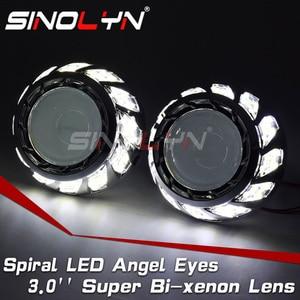 Sinolyn Angel Eyes Headlight Lenses H4 H7 Bixenon Projector HID 3.0 Super Lens Spiral Halos For Car Lights Accessories Retrofit