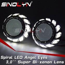 Sinolyn Angel Eyes lentes de faro H4 H7 Bixenon proyector HID 3,0 Super lentes Halos en espiral para accesorios de luces de coche