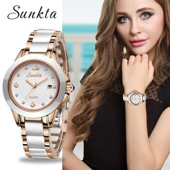 ¡Novedad de 2019! relojes SUNKTA para mujer, relojes de lujo impermeables para mujer, relojes de vestir de acero inoxidable a la moda para mujer, reloj femenino