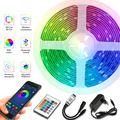 Светодиодные ленты Bluetooth Luces LED RGB 5050 SMD 2835 водонепроницаемая гибкая лента Диодная 5 м 10 м 15 м 20 м DC 12 В WIFI сменные светодиодные лампы