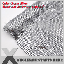 Matt Silver Gloosy Silver Aluminium Fabric Mesh Without Iron On Glue for Dress,Skirt,Bra,Shoes(China)