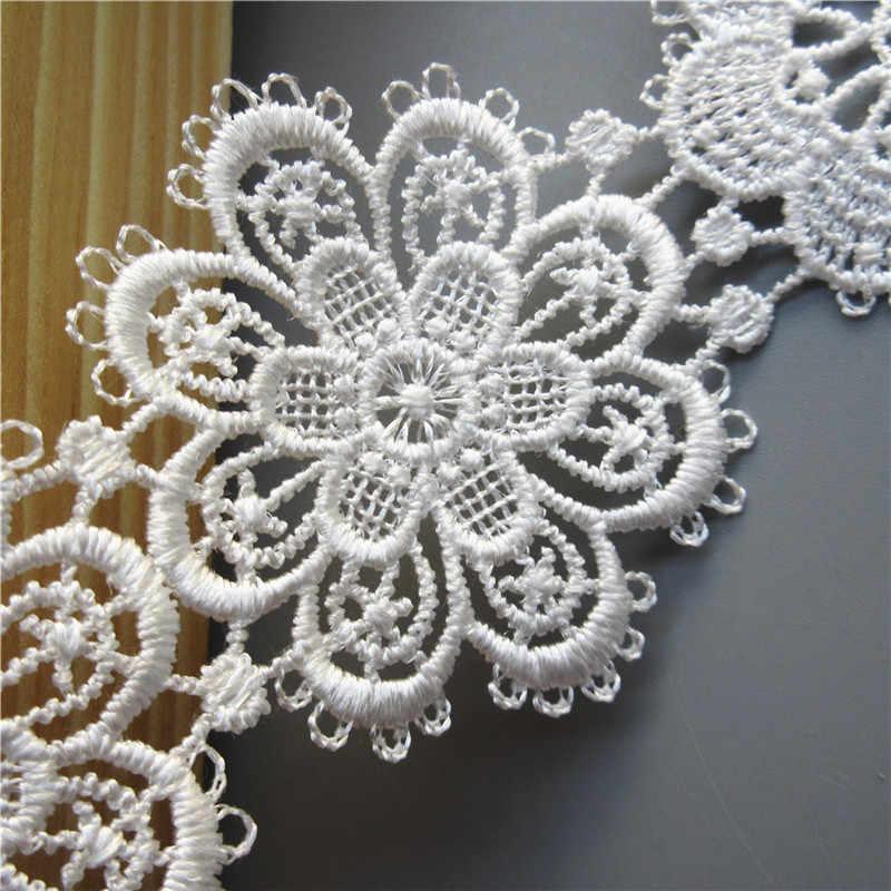 2 m/lot rozpuszczalny biały poliestrowy kwiat koronkowa lamówka wstążka z aplikacją DIY instrukcja materiały krawieckie rzemiosło dekoracji