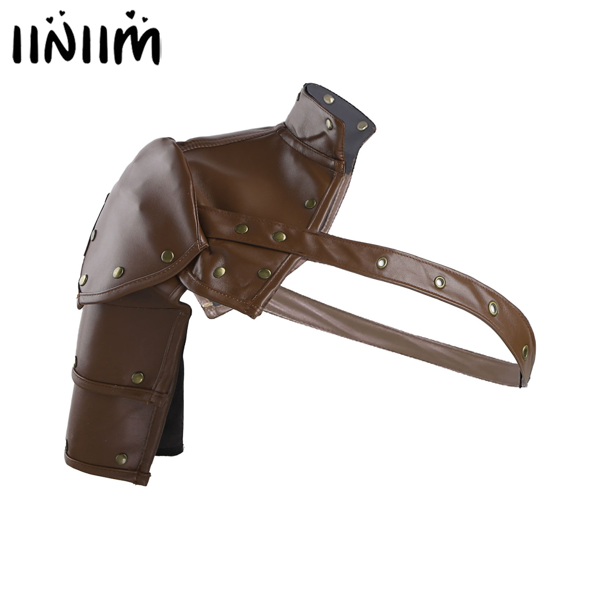 Iiniim Gothic Steampunk Style Faux Leather Clubwear Rivets Single Shoulder Armor Body Chest Harness Cosplay Costume Accessories