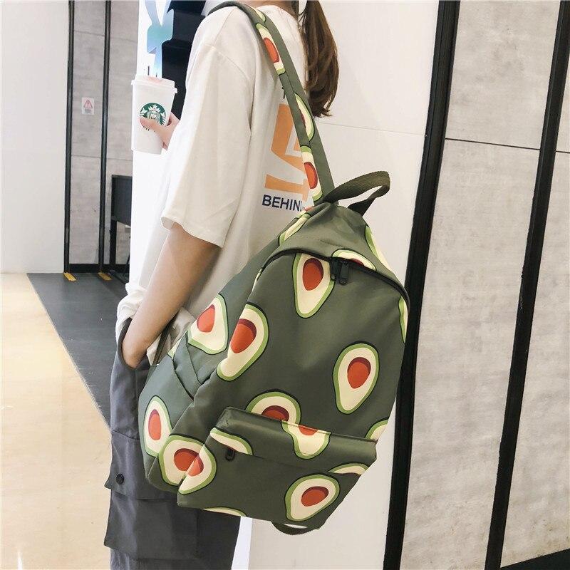 2020 Ladies New Avocado School Bag Korean Student Outdoor Backpack Harajuku Backpack Large Capacity