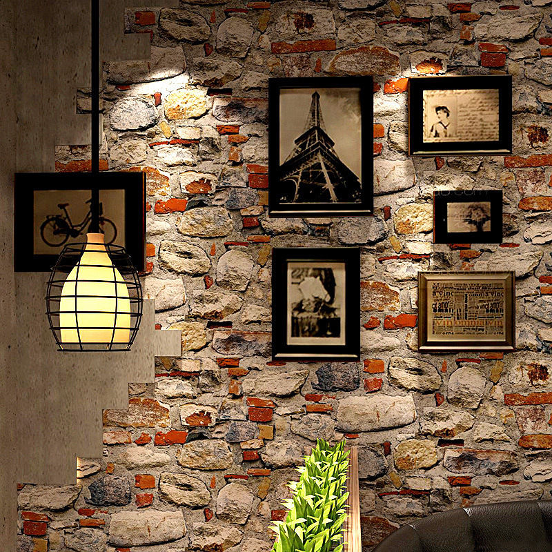 Retro Nostalgic 3D Vintage Art Stone Pattern Stone Rock Wallpaper Restaurant Coffee Shop Cool Background Wallpaper