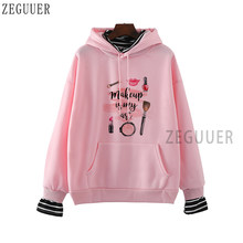 Makeup Is My Art Harajuku Hoodie Lady Vogue Lipsticks Nail Polish Kiss Sweatshirt Women O-Neck Casual Hipster Holiday Gift 2020(China)