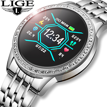 LIGE New Women Smart Watch Fitness Tracker For Android ios Heart Rate Blood Pressure Monitor Pedometer Waterproof smartwatch+Box