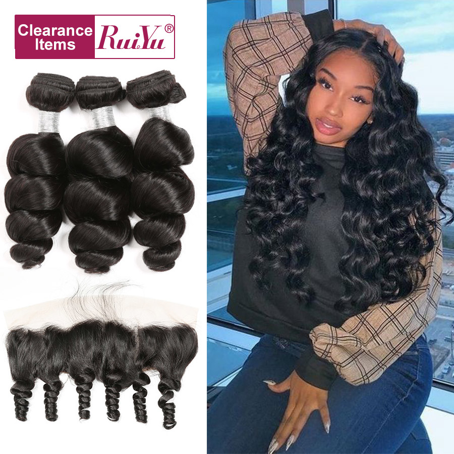 Peruvian Loose Wave Hair 3 Bundles With Closure Frontal Natural Color RUIYU Human Hair Extensions Remy Hair Bundles With Frontal