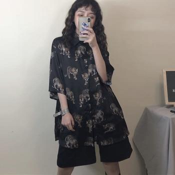 2021 Summer Spring Women Blouses BF style oversized shirts Harajuku Tops Dragon Printing Short Sleeve Shirts Female Streetwear 6