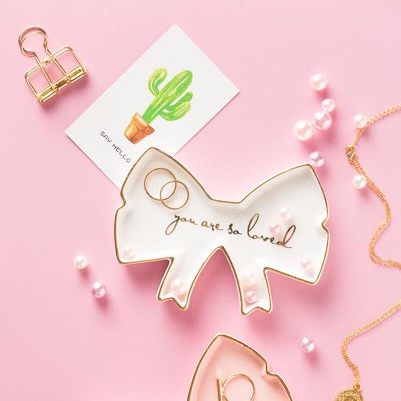 Artistik Piring Keramik Kerajinan Perhiasan Nampan Cincin Snack Permen Bintang Sayap Malaikat Menara Penyimpanan Piring Putih Mangkuk Pernikahan Dekorasi