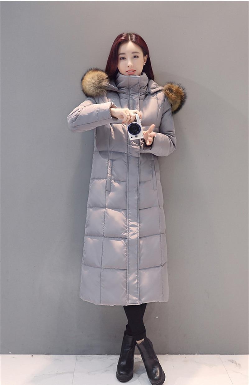 High 2020 Quality Women White Duck Down Jacket Warm Winter Coat Female Fur Collar Parka Slim Jackets Abrigo Mujer WXF288 S
