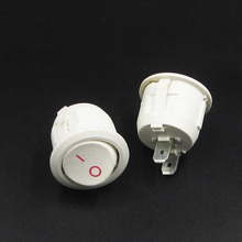 10pcs KCD1-105 AC 6A 10A 250V On Off Snap SPST Round Boat Rocker Switch White 2Pin Power Switch Push Button Switch  White 10pcs 2pin spst locking snap in boat rocker switch 6a ac250v 10a 125vac kcd1 106