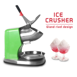 ITOP Commercial Electric Ice Crusher Smoothie Shaver Cocktail Maker Stainless Steel Ice Block Breaking Machine 250W Green Color