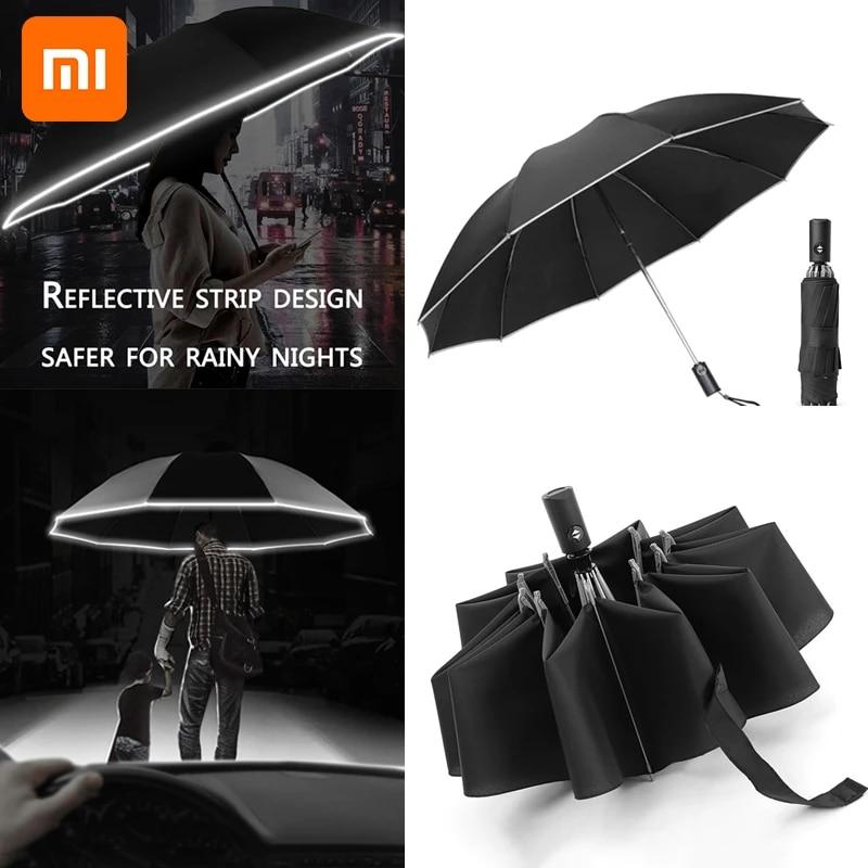 Xiaomi 2021 Fashion Portable UV Folding Automatic Umbrella Rain Wind Resistant Trip Sun Umbrellas Reverse Umbrella