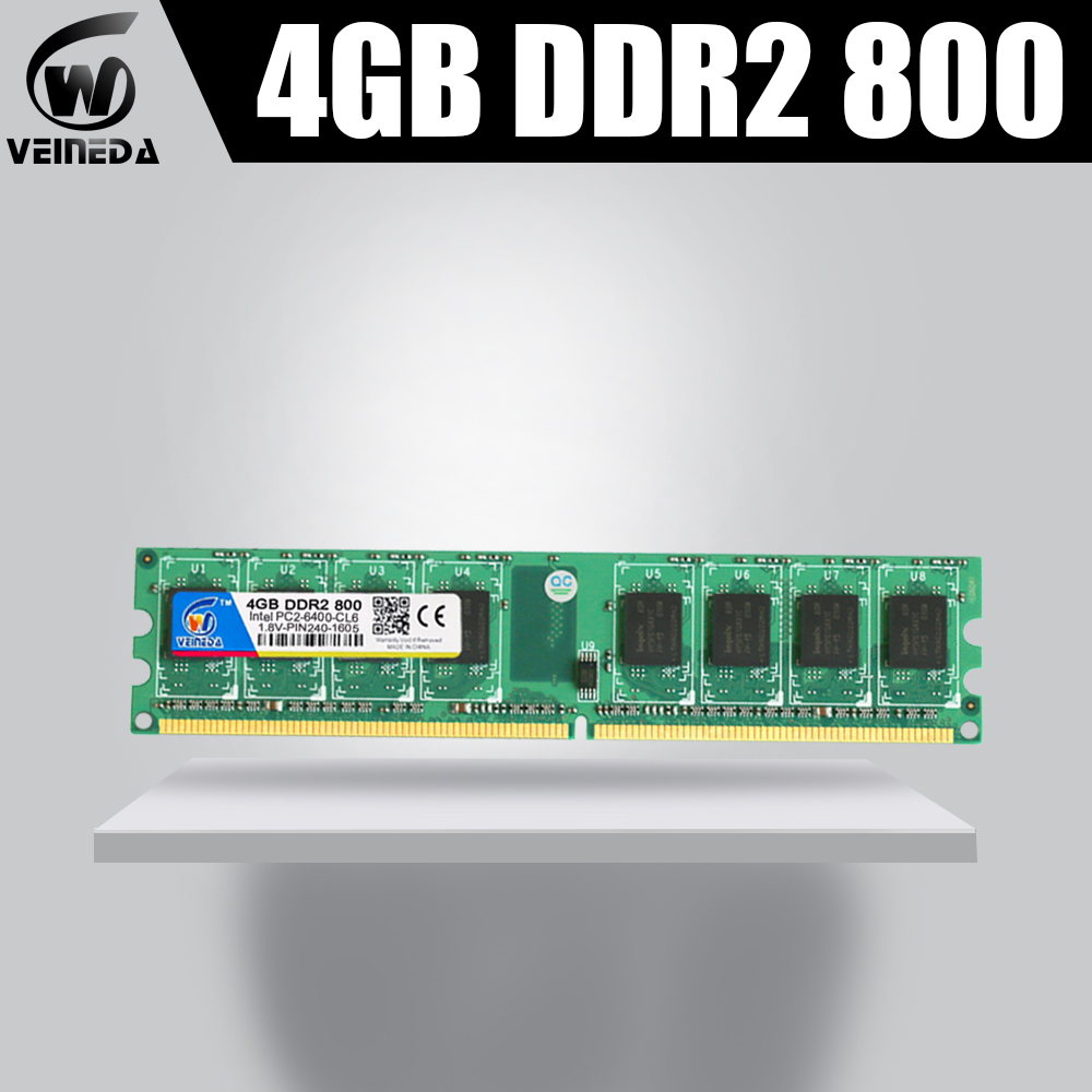 VEINEDA Memory RAM Memoria Module Computer Desktop <font><b>DDR2</b></font> <font><b>4gb</b></font> PC6400 533 <font><b>667MHZ</b></font> 4G <font><b>DDR2</b></font> compatible with 800MHZ 240pin image