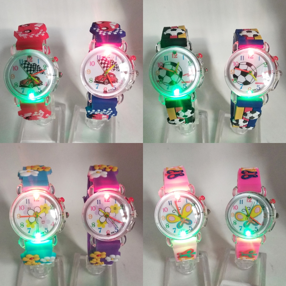 Car/butterfly/flower/football LED Flash Glow Light Children Watches Kids Electronic Watch Boys Girls Birthday Party Gifts Clock