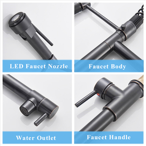 Image 2 - Suguword LED Spring Kitchen Faucet Deck Mounted Single Handle one Hole Mixer Tap Ceramic Valve Hot Cold Water Switch Rotatable