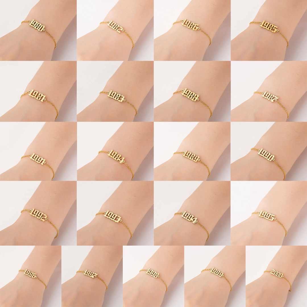 Niestandardowe kobiety mężczyźni stary angielski numer bransoleta ze stali nierdzewnej Anklet biżuteria z wiszącą ozdobą bransoletka ślubna zaręczynowa pulseira Sainio