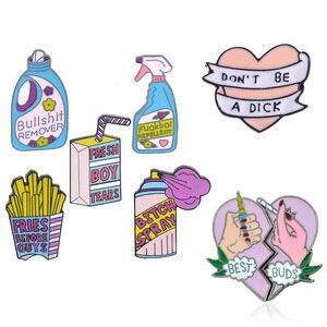 Мультяшная эмалированная брошь, большая надпись «Fries Before Guys», коробка для напитков, милое розовое сердце, брошь из сплава, металлические зна...
