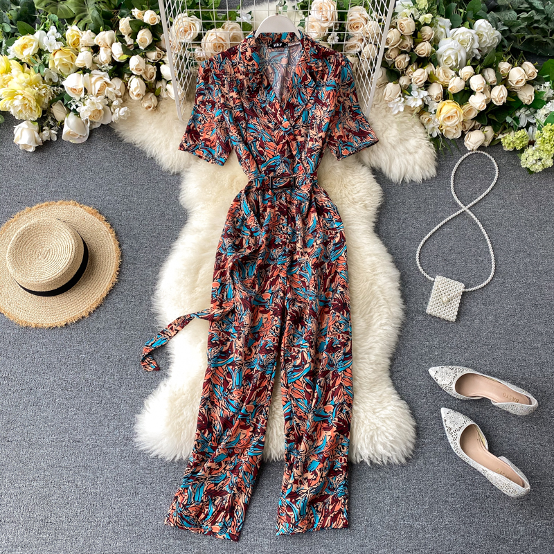 Vintage 2020 Notched Neck rompers Slim floral print Summer Full Length Bandage Jumpsuit Women Elegant Office Playsuit Tie Romper