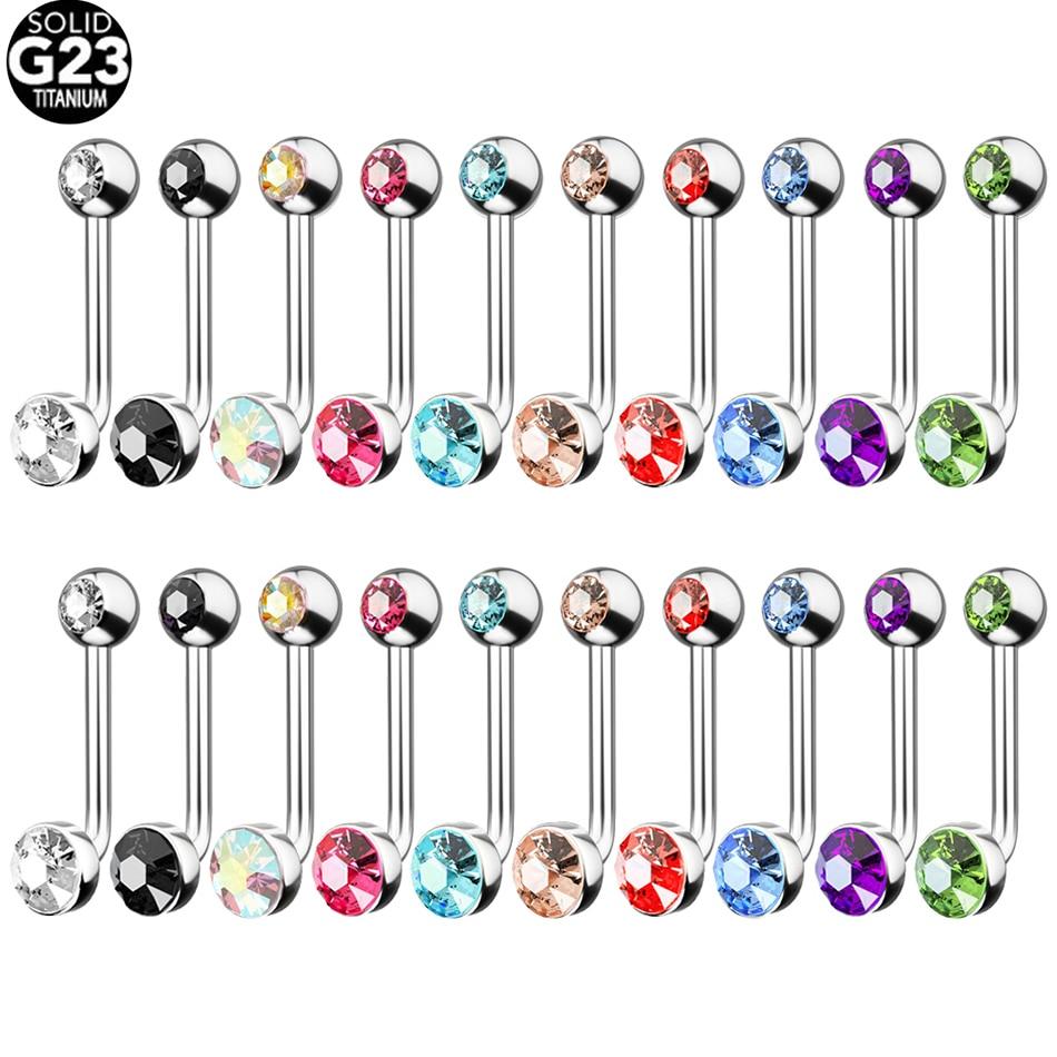 Кольцо для пирсинга с кристаллом G23, титановое украшение для губ с вертикальным капюшоном и подвеской в виде кристалла, для гениталий и влаг...
